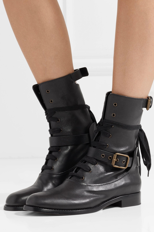 Black Otto leather biker boots | Chloé