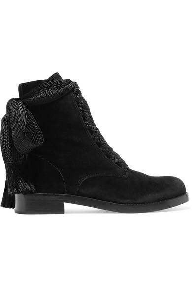 Harper Velvet Ankle Boots, Black
