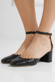 Lauren scalloped leather pumps