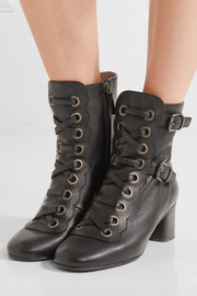 Orson lace-up textured-leather ankle boots