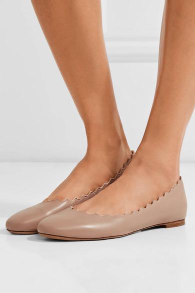 4240823ca06 Lauren scalloped leather ballet flats