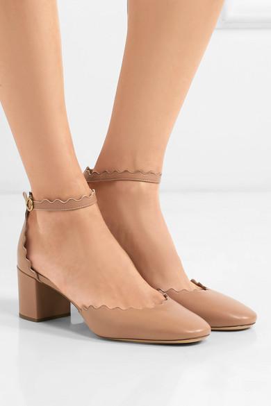 0f3e04bb4e2 Chloé. Lauren scalloped leather pumps