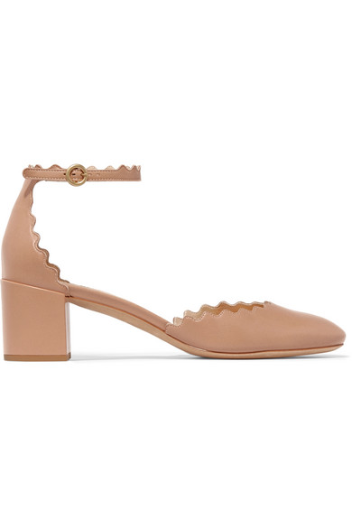 Chloé Leathers LAUREN SCALLOPED LEATHER PUMPS