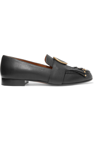 Chloé - Olly Fringed Embellished Textured-leather Loafers - Black