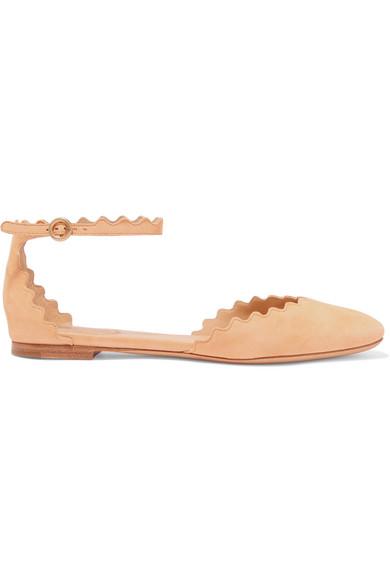 Chloé Lauren flache Schuhe aus Veloursleder mit Wellenkante