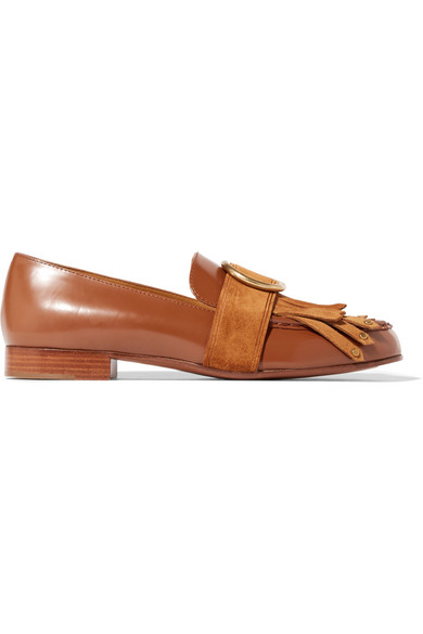 Chloé - Olly Fringed Suede-trimmed Embellished Leather Loafers - Tan