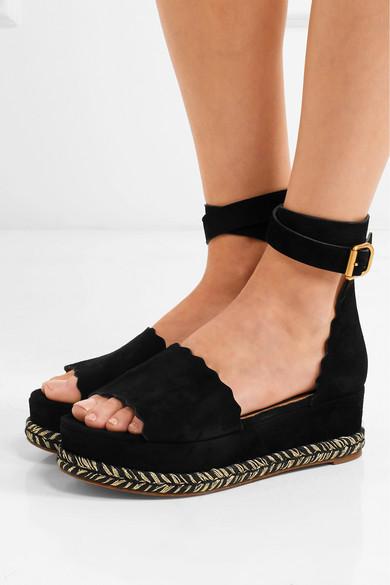 Chlo 233 Lauren Suede Espadrille Platform Sandals Net A