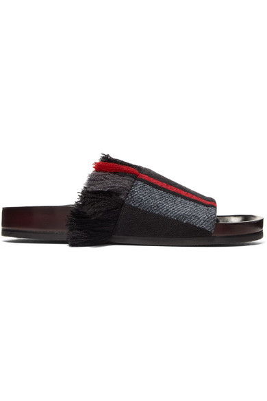 Chloé Kerenn Fringed Striped Jacquard Slides Outlet Low Price Fee Shipping Sale Online Shopping Outlet Visit I5ZItKG