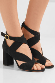 Graphic Leaves suede sandals