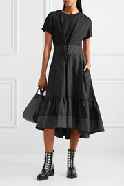 3.1 Phillip Lim Lace-up cotton-jersey and shell midi dress