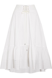 Lace-up cotton-poplin midi skirt