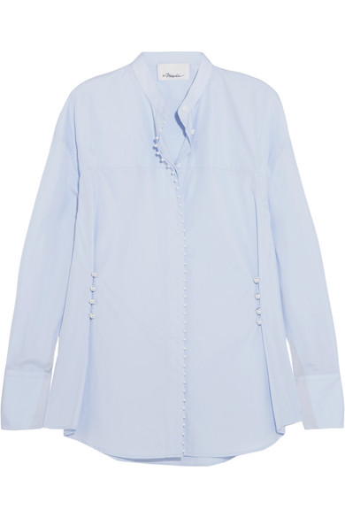 3.1 Phillip Lim - Faux Pearl-embellished Cotton-poplin Shirt - Blue