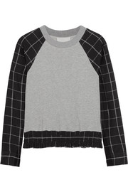 3.1 Phillip Lim Paneled plaid cotton-jersey sweatshirt