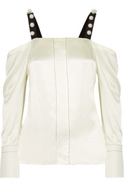 3.1 Phillip Lim Cold-shoulder faux pearl-embellished silk-satin blouse