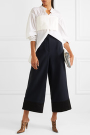 3.1 Phillip Lim Satin-trimmed crepe wide-leg pants