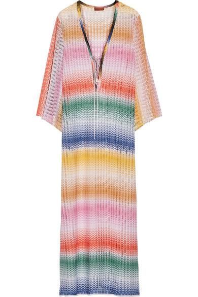 Missoni - Rete Sfumata Lace-up Crochet-knit Kaftan - Baby pink