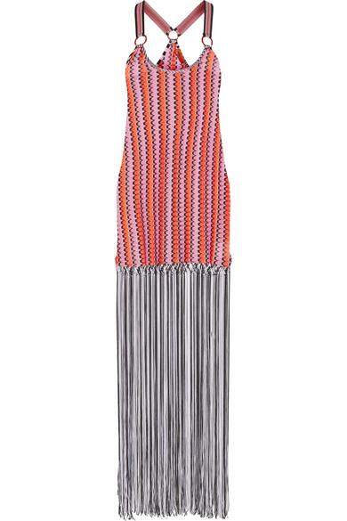 Missoni - Mare Fringed Crochet-knit Maxi Dress - Pink