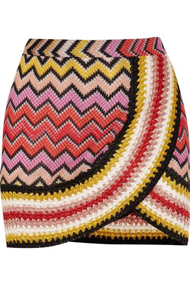 Missoni - Metallic Crochet-knit Mini Skirt - Red