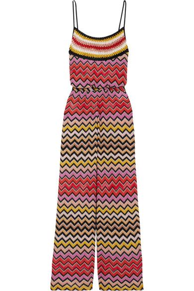 Missoni - Metallic Crochet-knit Jumpsuit - Bronze
