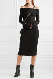 Helmut Lang Off-the-shoulder wool-blend dress