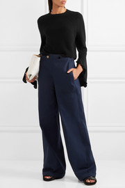 Helmut Lang Cropped ruffle-trimmed wool and cashmere-blend sweater