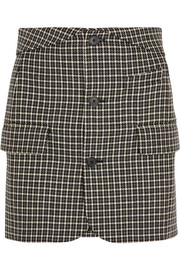 Helmut Lang Checked wool mini skirt