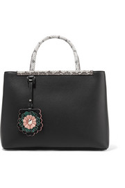 Fendi 2Jours python-trimmed textured-leather shopper