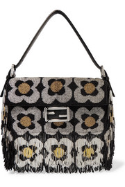 Fendi Baguette fringed beaded suede shoulder bag