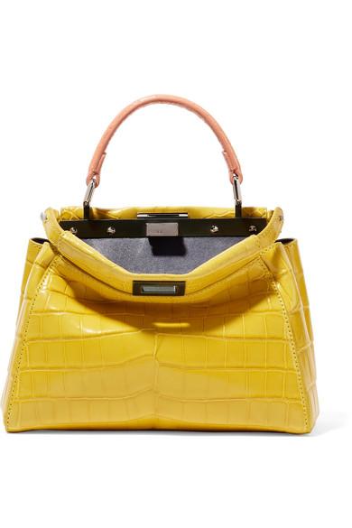 Fendi - Peekaboo Mini Crocodile Shoulder Bag - Yellow