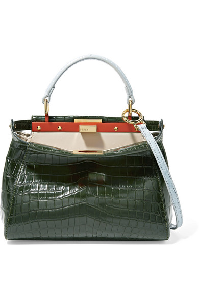 Fendi - Peekaboo Mini Crocodile Shoulder Bag - Dark green