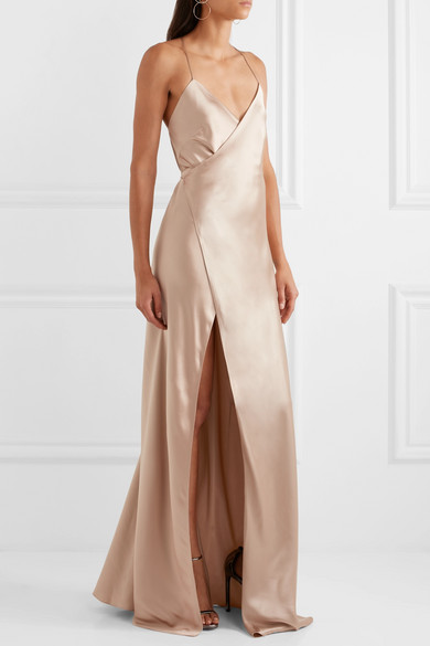 Michelle mason silk satin wrap gown net a porter com for Net a porter
