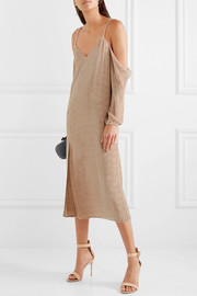 Michelle Mason Off-the-shoulder devoré-chiffon midi dress