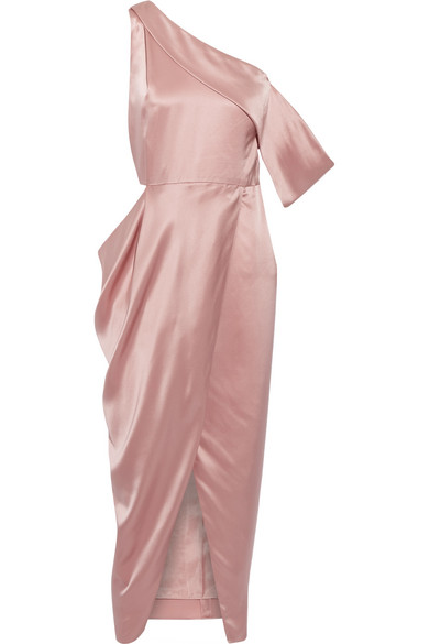 Michelle Mason Woman Wrap-effect Asymmetric Silk-satin Midi Dress Pink Size 10 Michelle Mason Pictures For Sale The Cheapest Sale Online Get Authentic 5FlAo