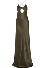 Michelle Mason Cutout backless silk gown
