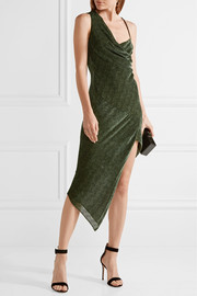 Asymmetric draped devoré-chiffon dress