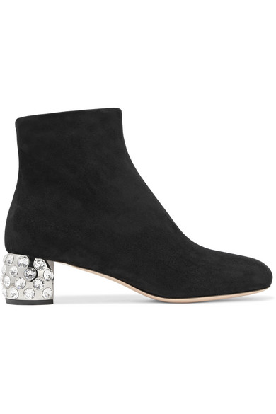 Miu Miu - Crystal-embellished Suede Ankle Boots - Black at NET-A-PORTER