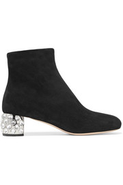 Miu Miu Crystal-embellished suede ankle boots