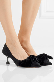 Miu Miu Bow-embellished suede and velvet pumps
