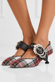 Miu Miu Embellished tartan tweed pumps