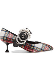 Embellished tartan tweed pumps