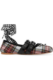 Miu Miu Lace-up leather-trimmed tartan tweed ballet flats