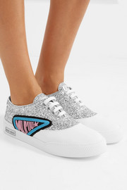 Appliquéd glittered leather sneakers