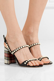 Miu Miu Faux pearl-embellished tartan tweed and patent-leather sandals