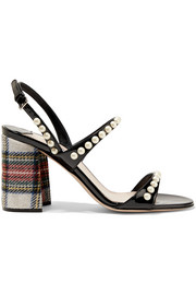 Faux pearl-embellished patent-leather and tartan tweed sandals