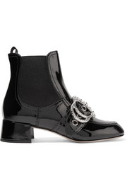 Miu Miu Embellished patent-leather ankle boots