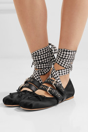 Miu Miu Lace-up leather-trimmed satin ballet flats