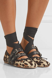 Miu Miu Lace-up leather-trimmed leopard-print calf hair ballet flats