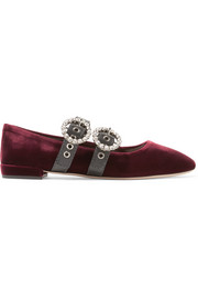 Crystal-embellished leather-trimmed velvet ballet flats
