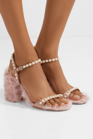 Miu Miu Sandals Made Of Shearling-imitation And Silk With Decorative Beads