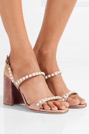 Miu Miu Faux pearl-embellished satin and velvet sandals